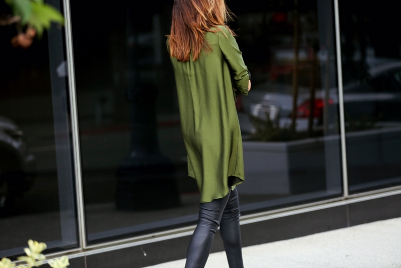 Marissa Webb Shirtdress, Leather leggings