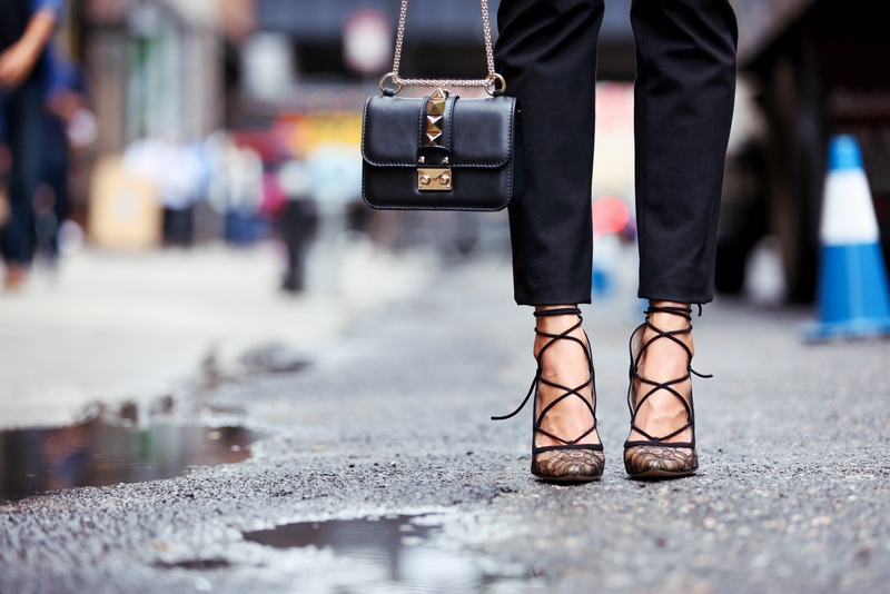 Valentino handbag, Gianvito Rossi lace pumps