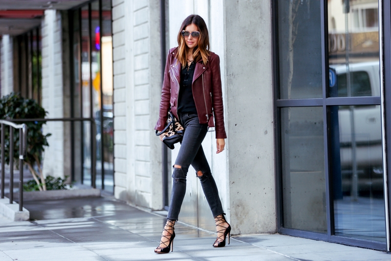 Bordeaux leather jacket outfit with lace up pumps