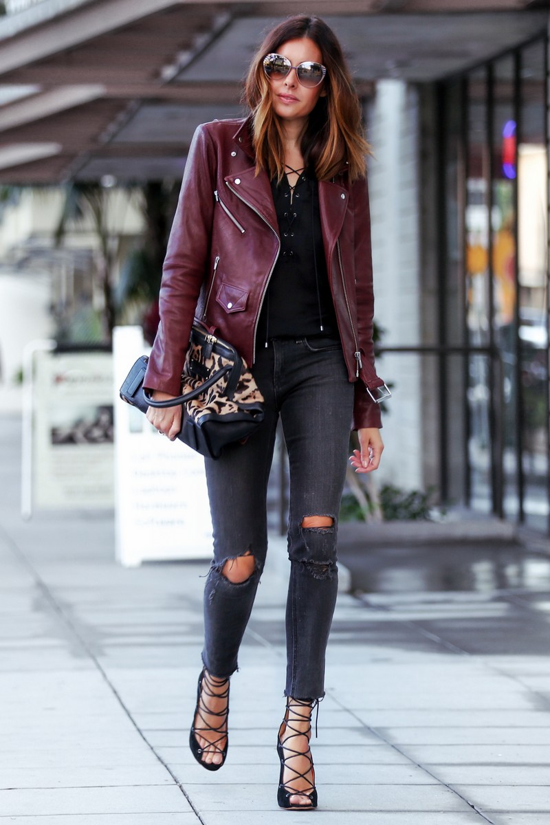 burgundy leather jacket outfit