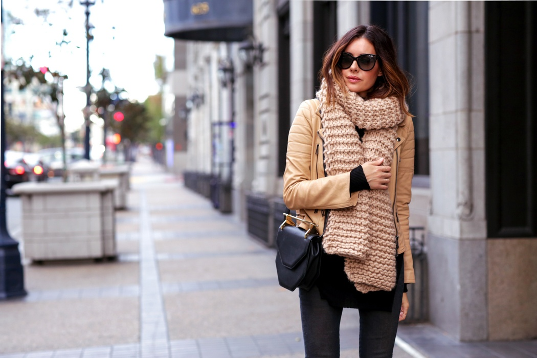 chunky scarf and leather moto jacket