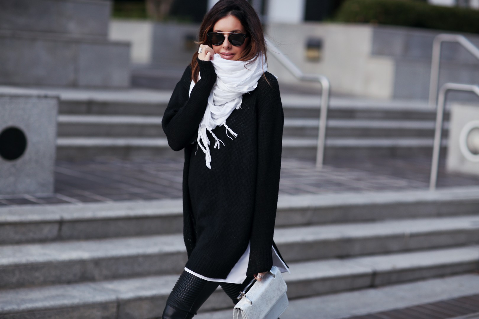 scarf and oversized sweater