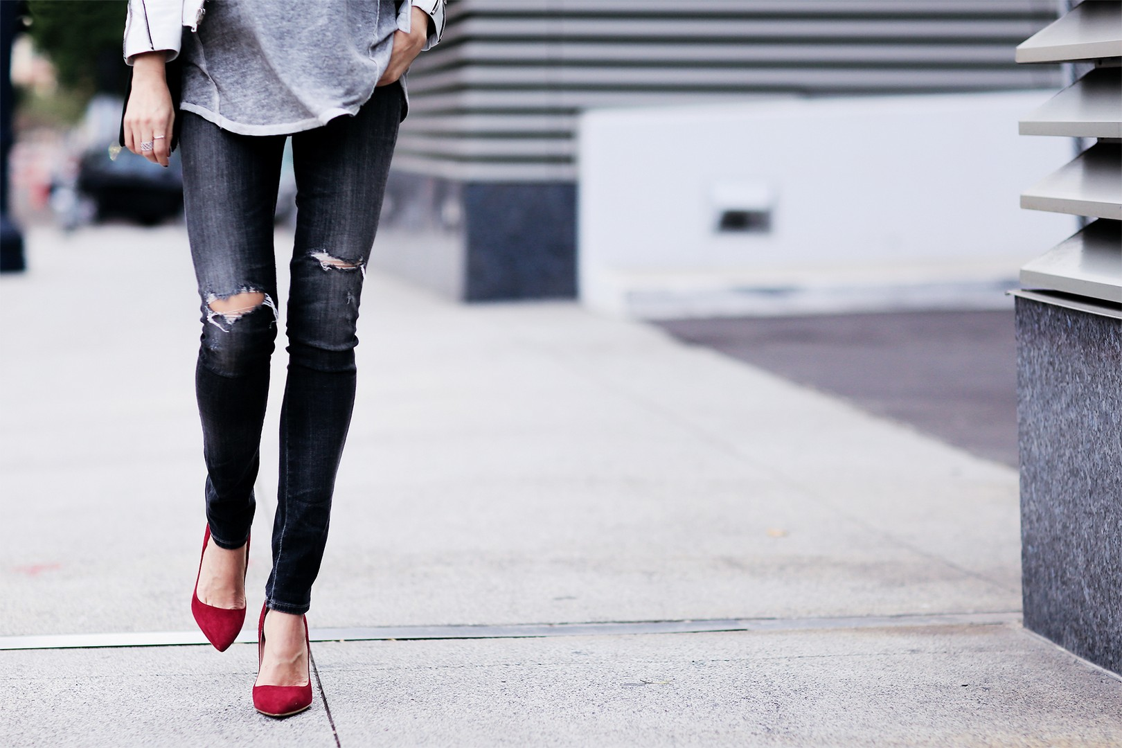 White Jacket Look with red suede shoes