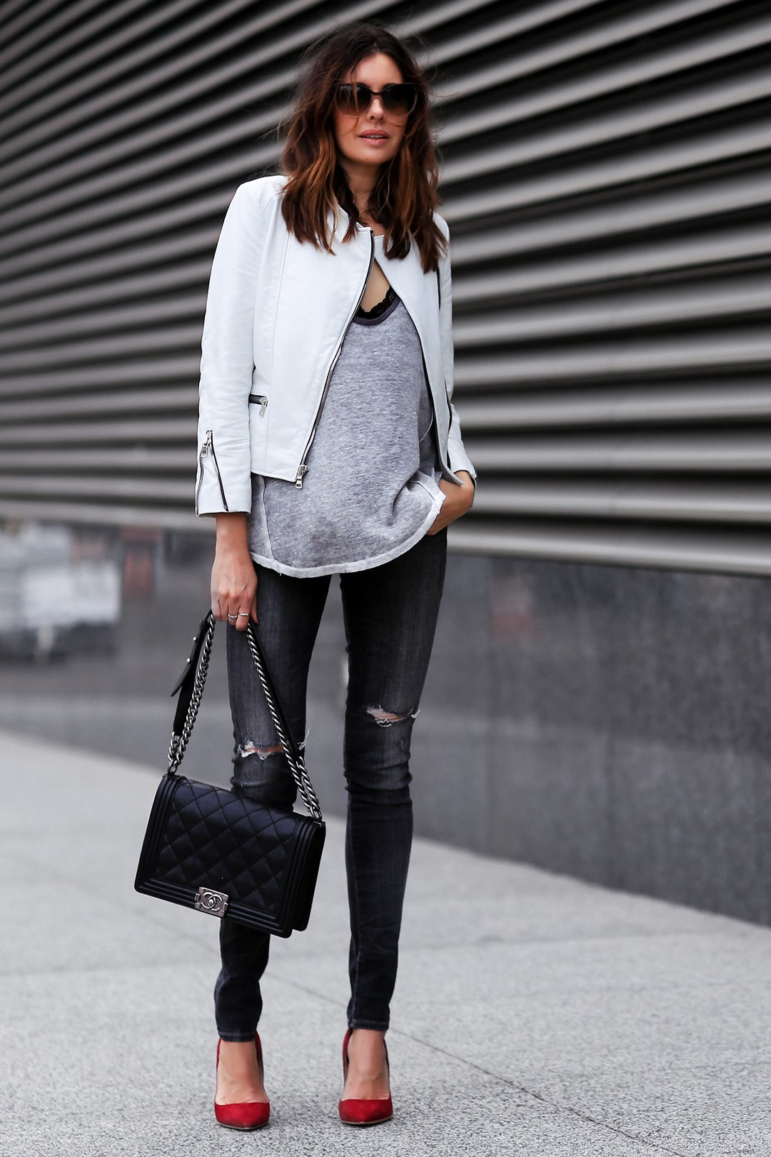 White Jacket Look with pop of red