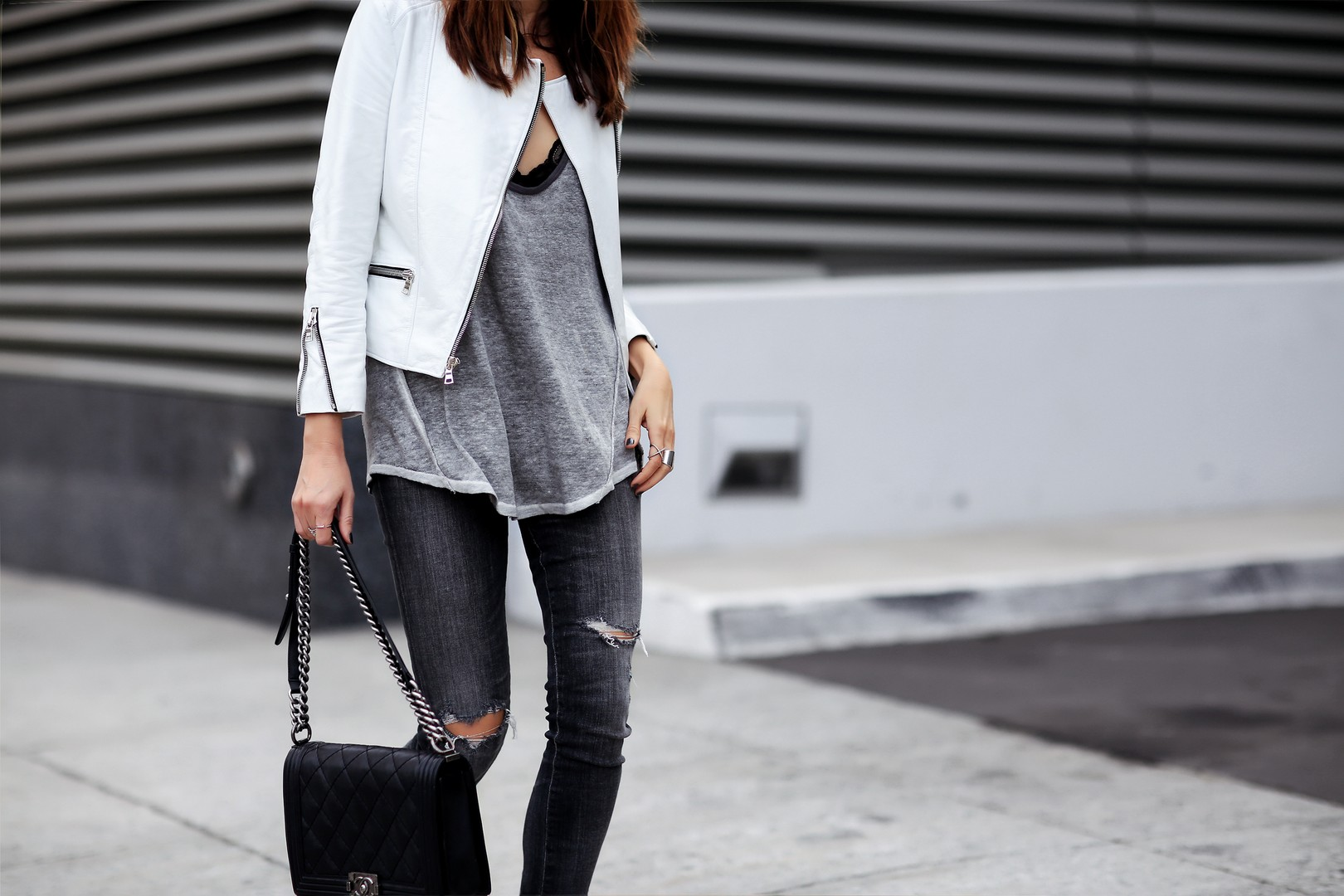 White Jacket Look with Chanel Boy Bag