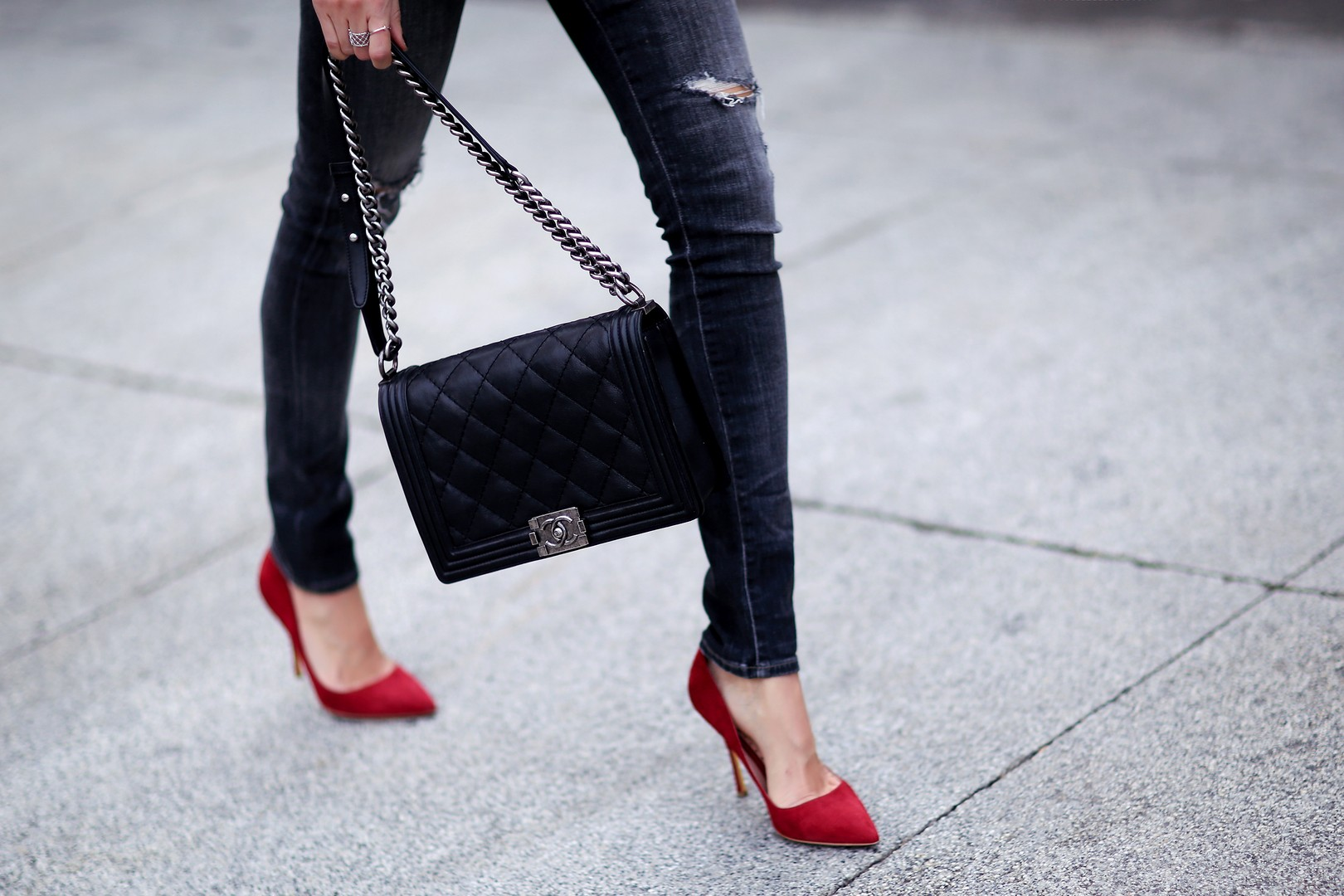 Chanel Boy Bag with red shoes