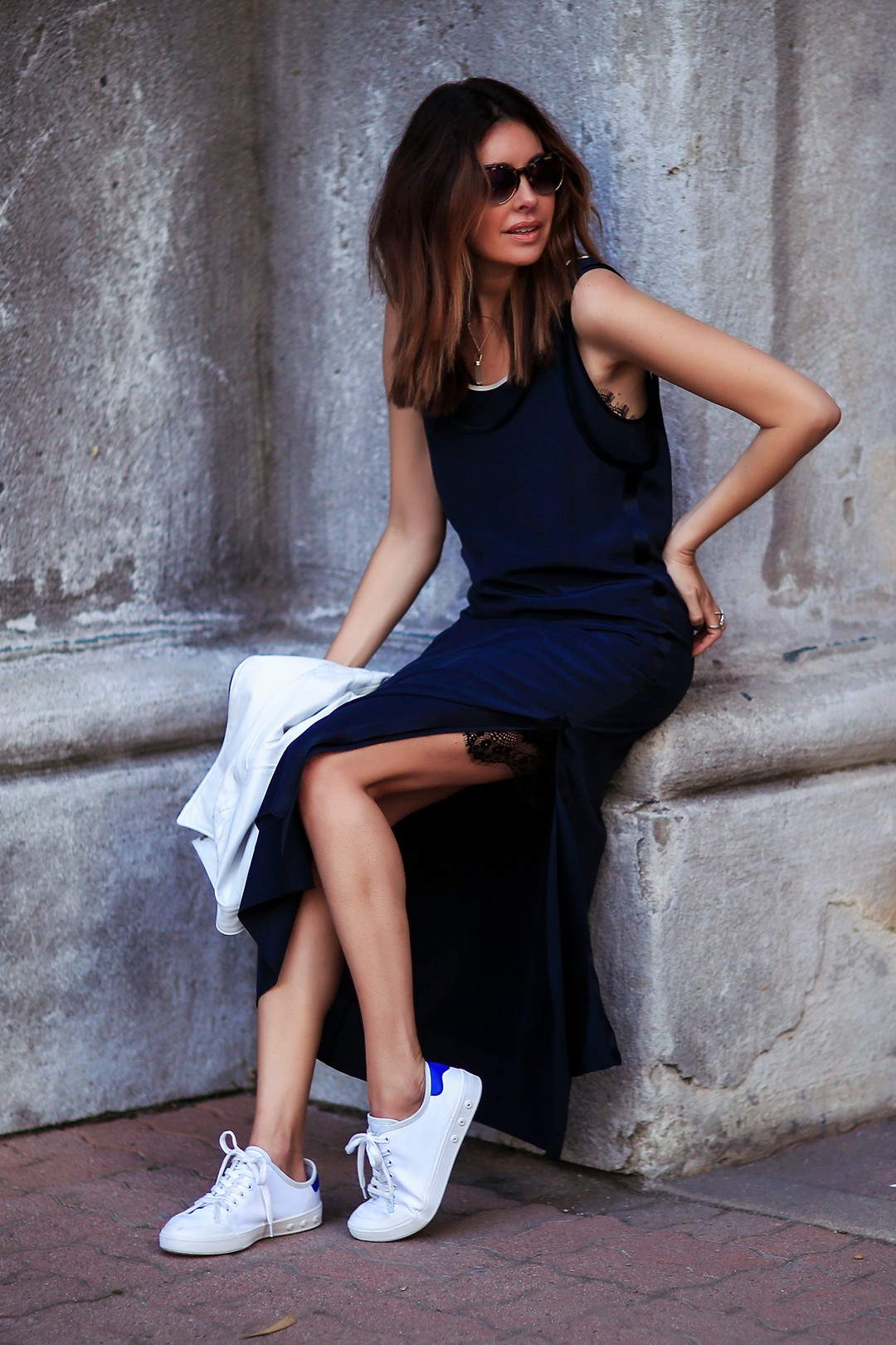Elevated Casual: Midi Dress + Sneakers
