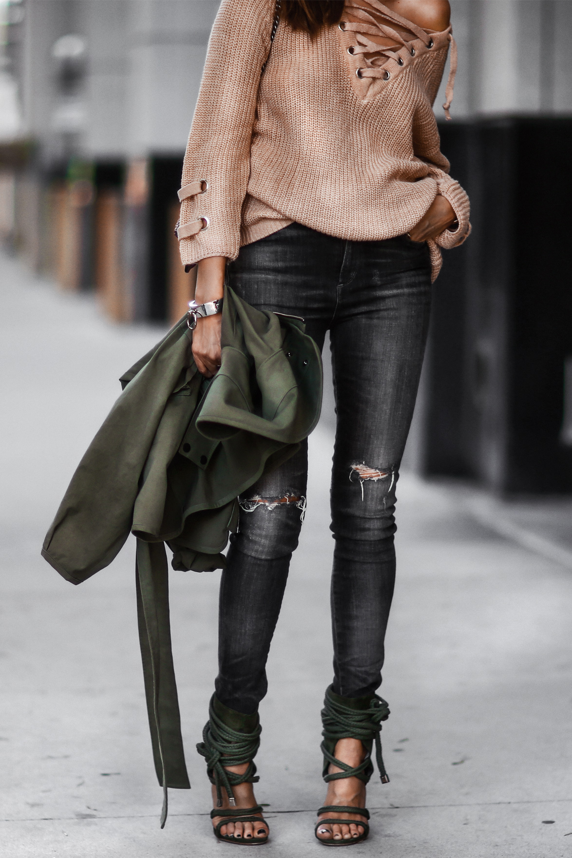 lace up sweater and rope pumps