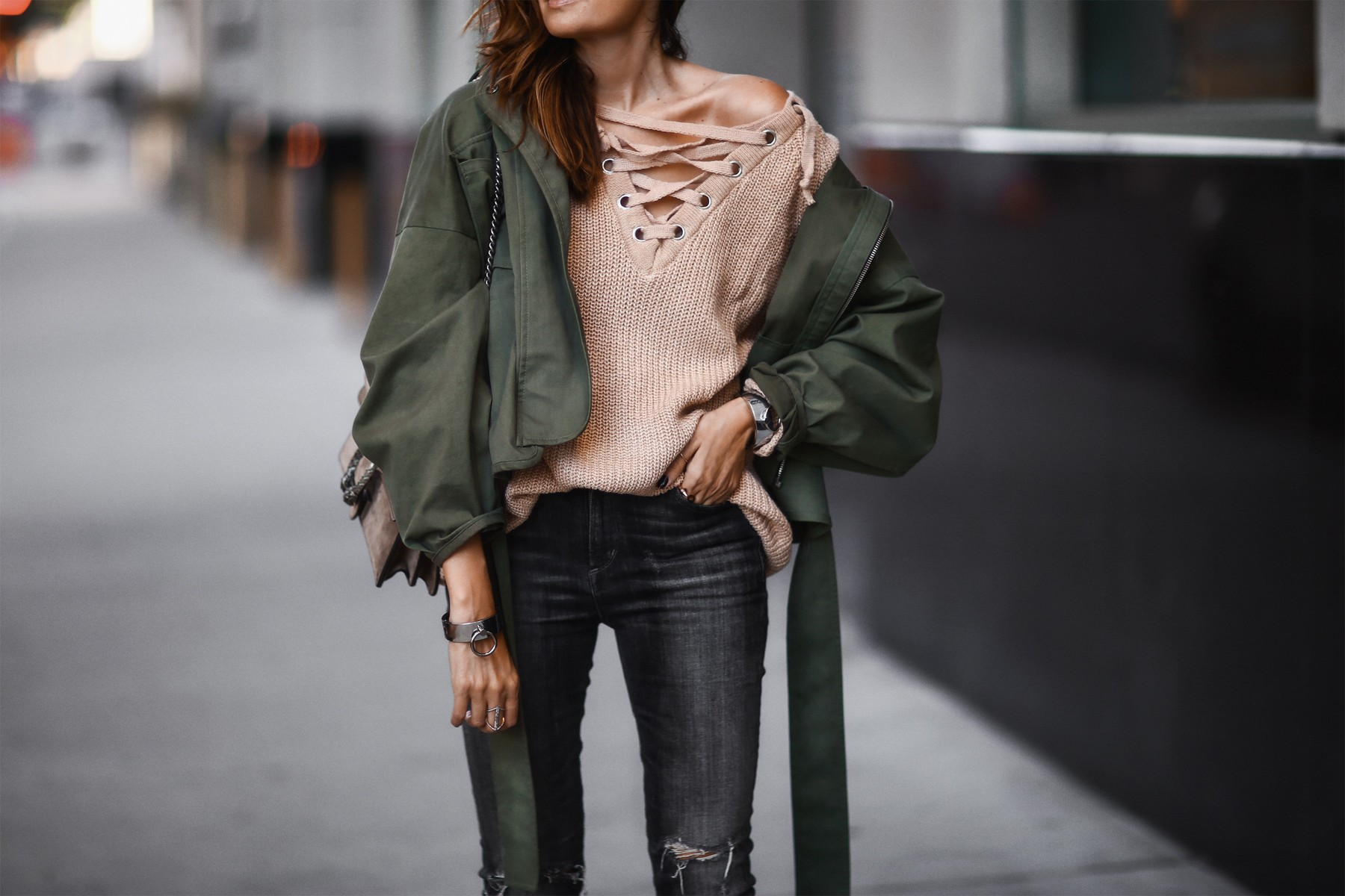 lace up sweater and jacket