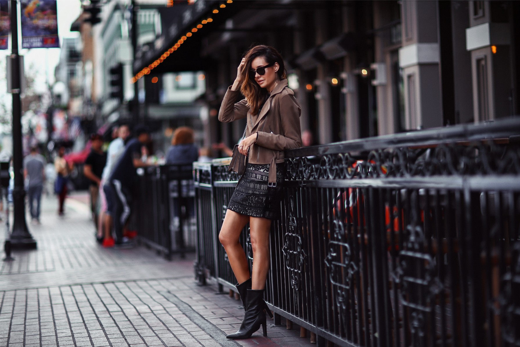 suede moto and lace dress