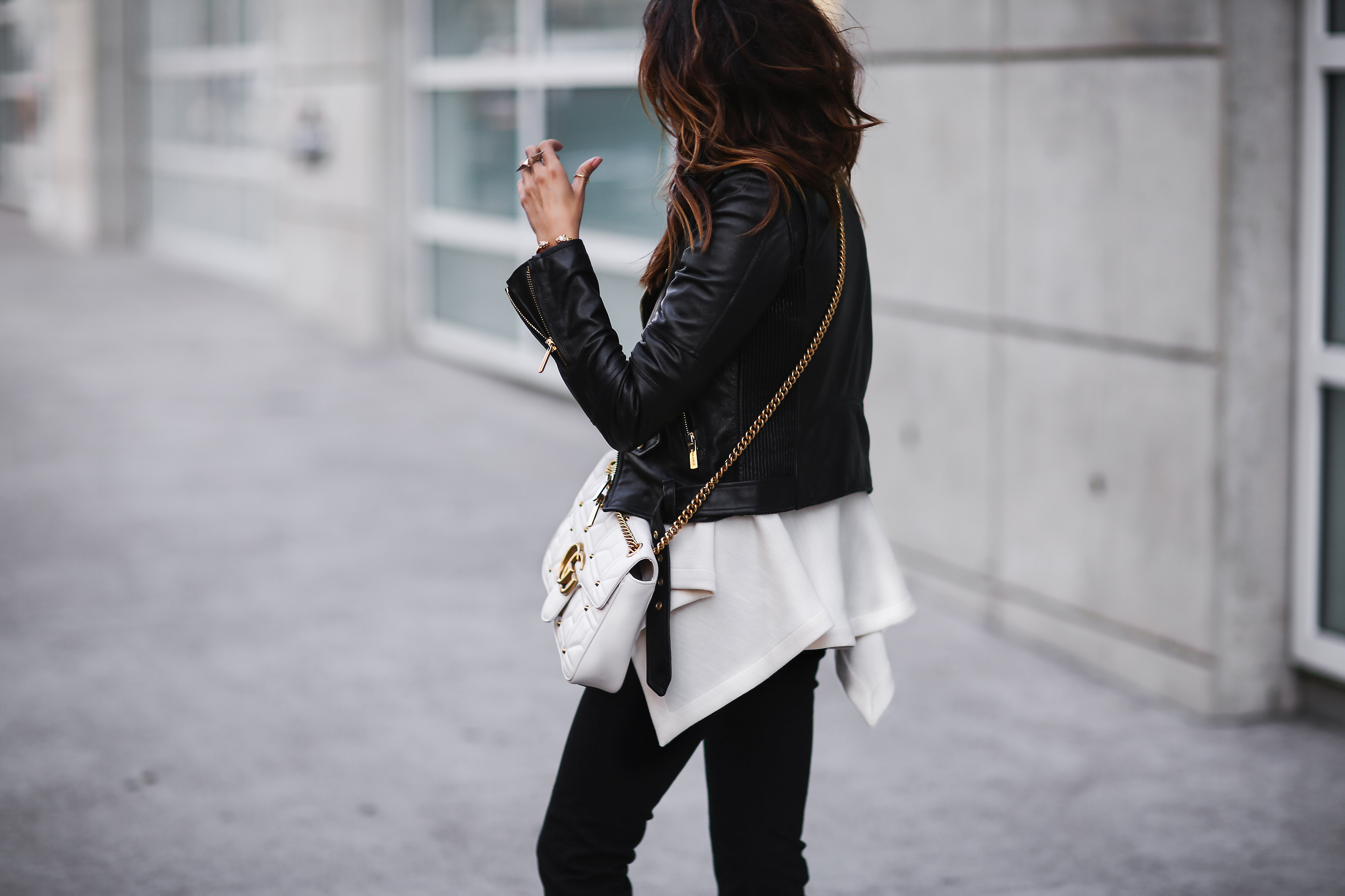 Leather jacket, Gucci Marmont bag, Marni sweatshirt