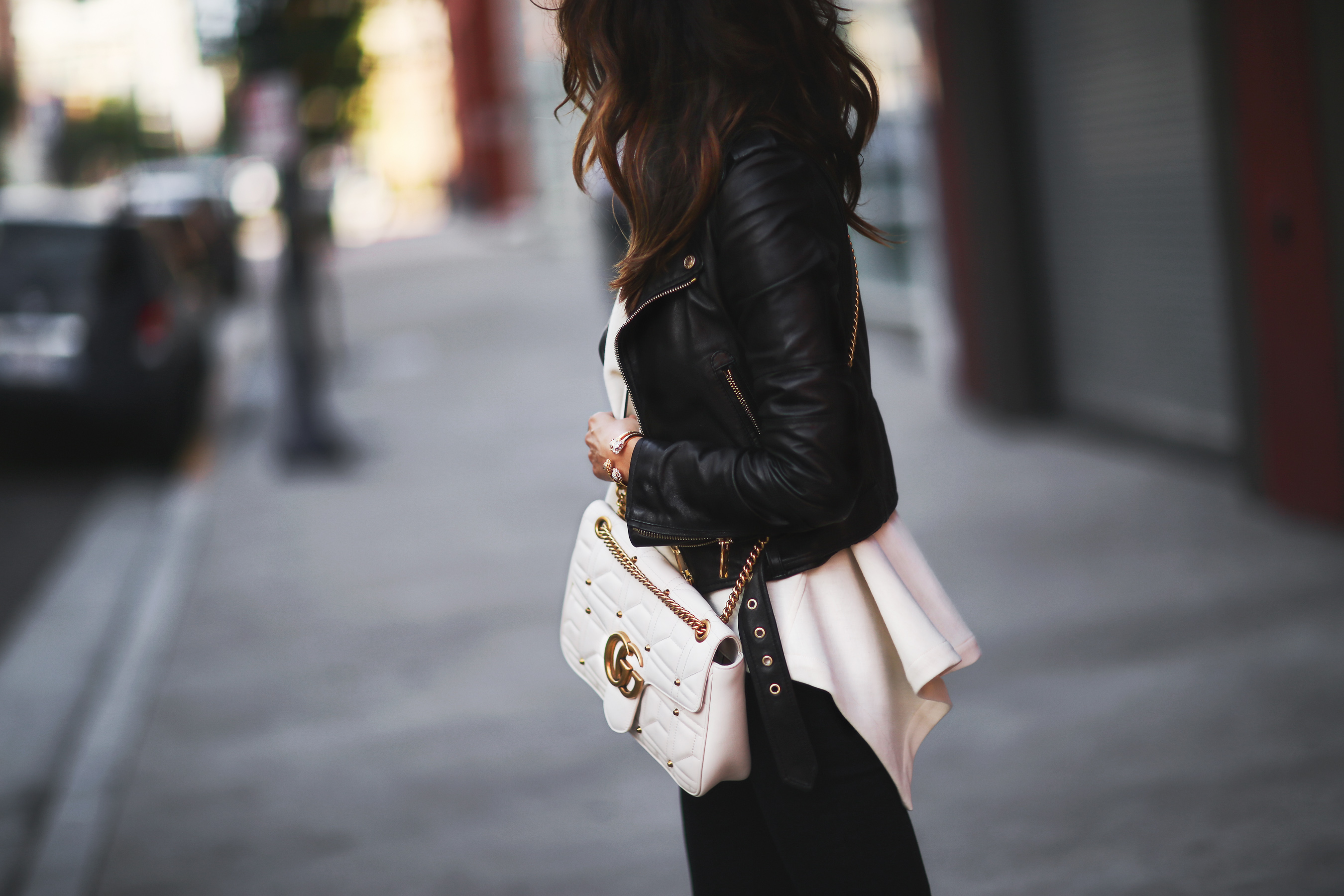 leather jacket and Gucci Marmont Bag