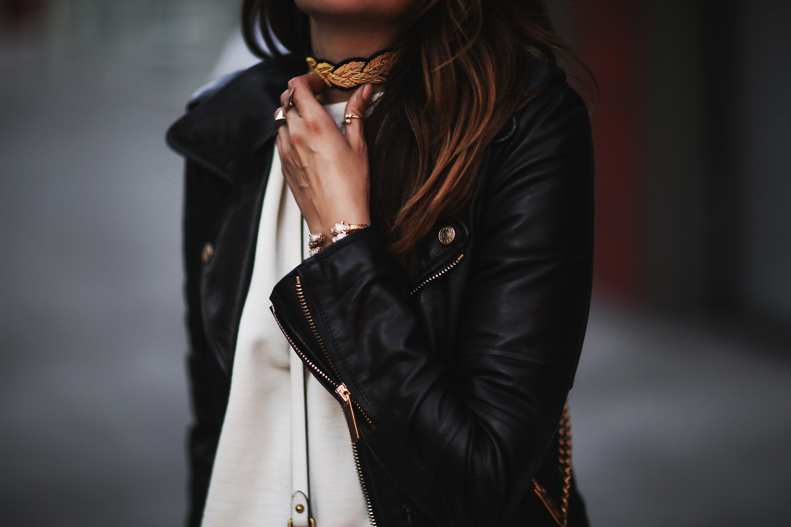 choker and leather jacket