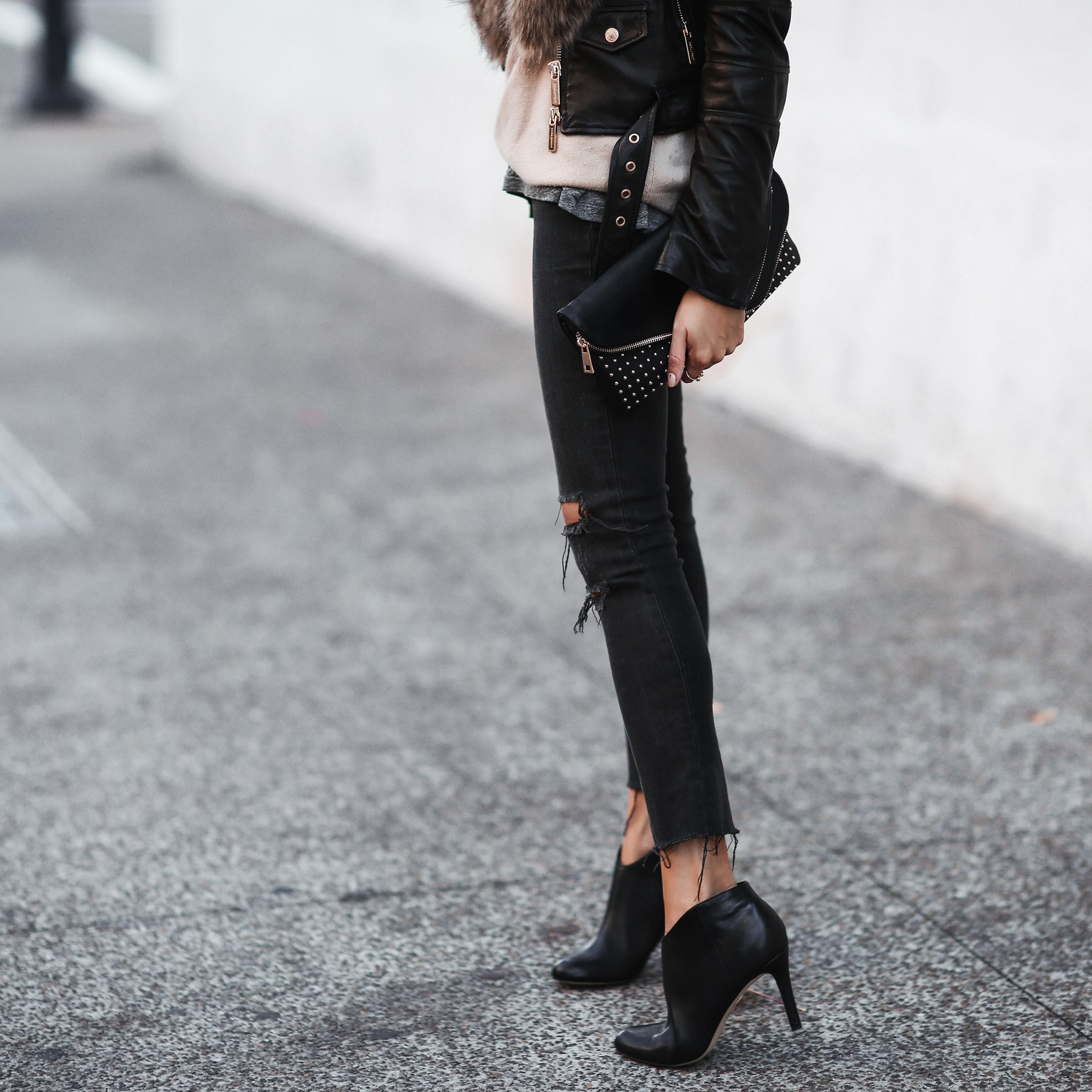frayed denim and booties