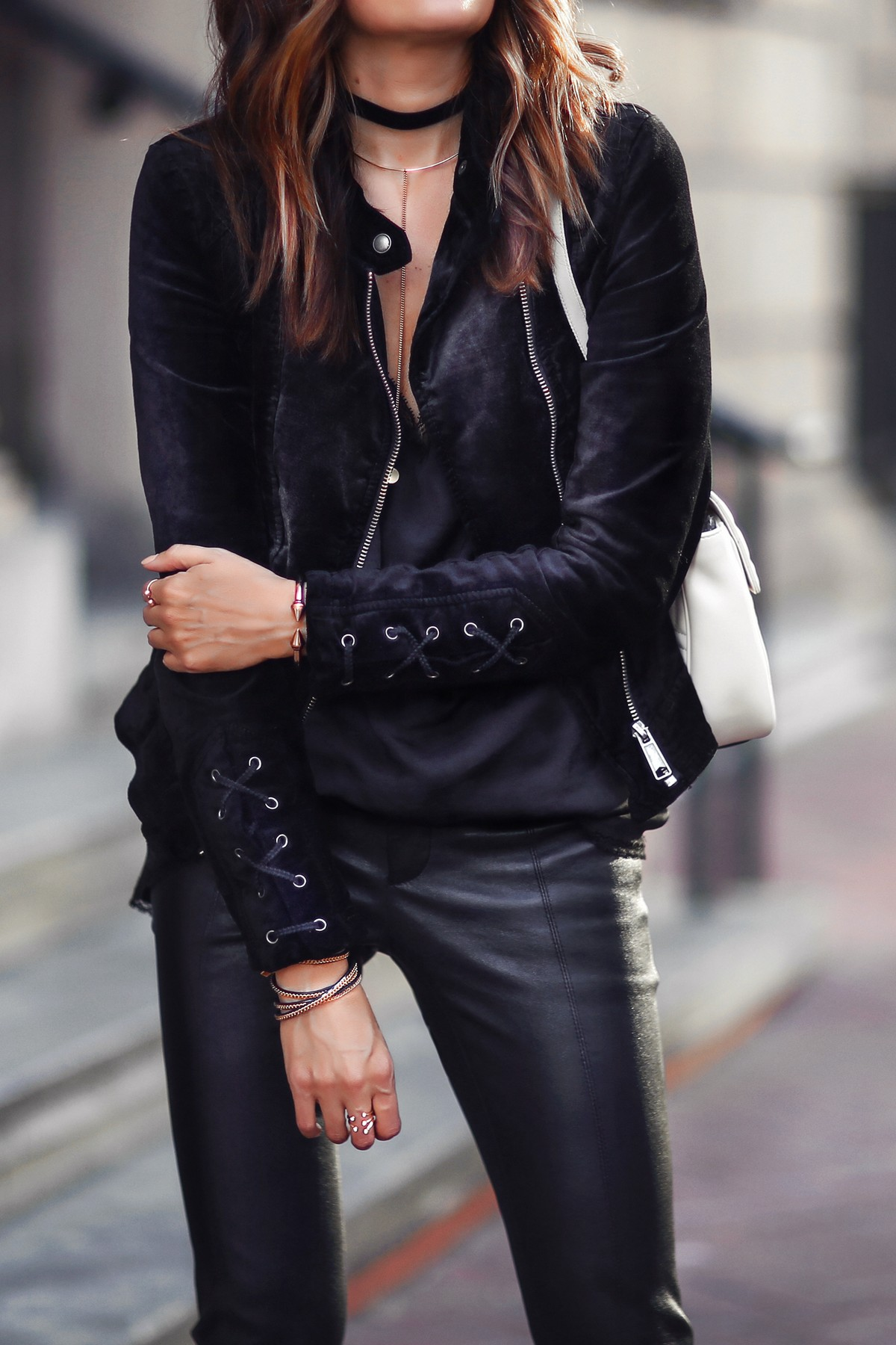 lace up velvet jacket and leather pants