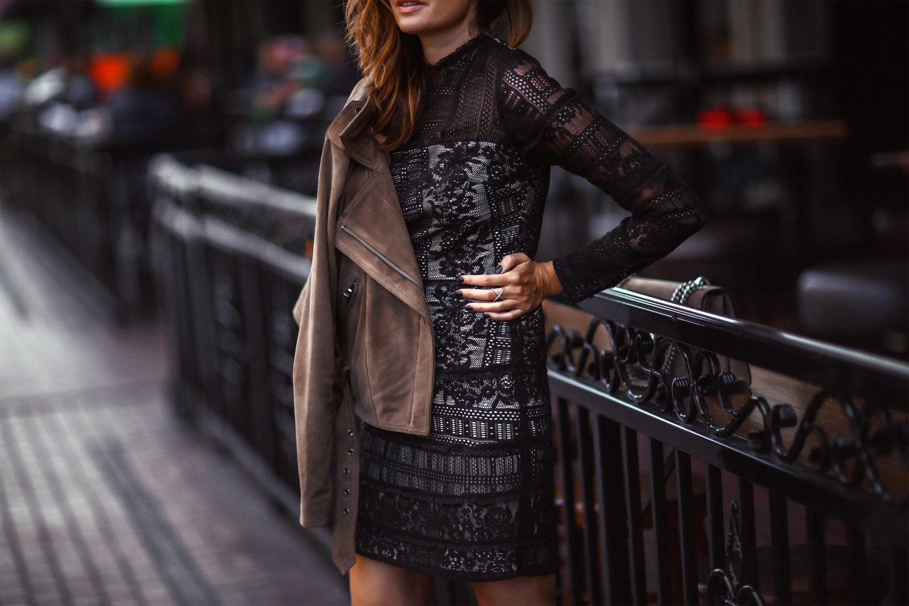 lace dress and moto jacket
