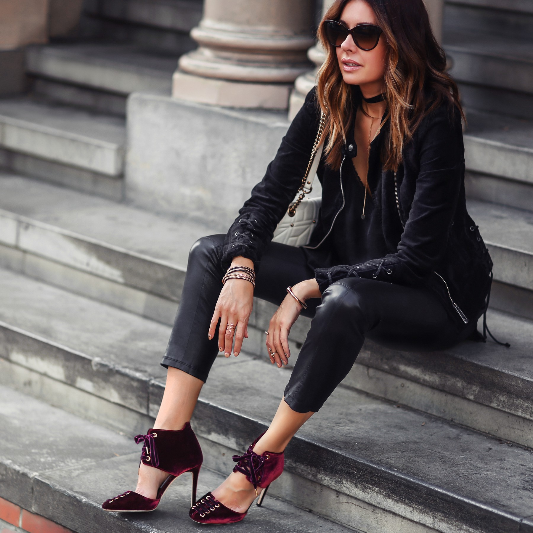 black velvet jacket and red velvet heels
