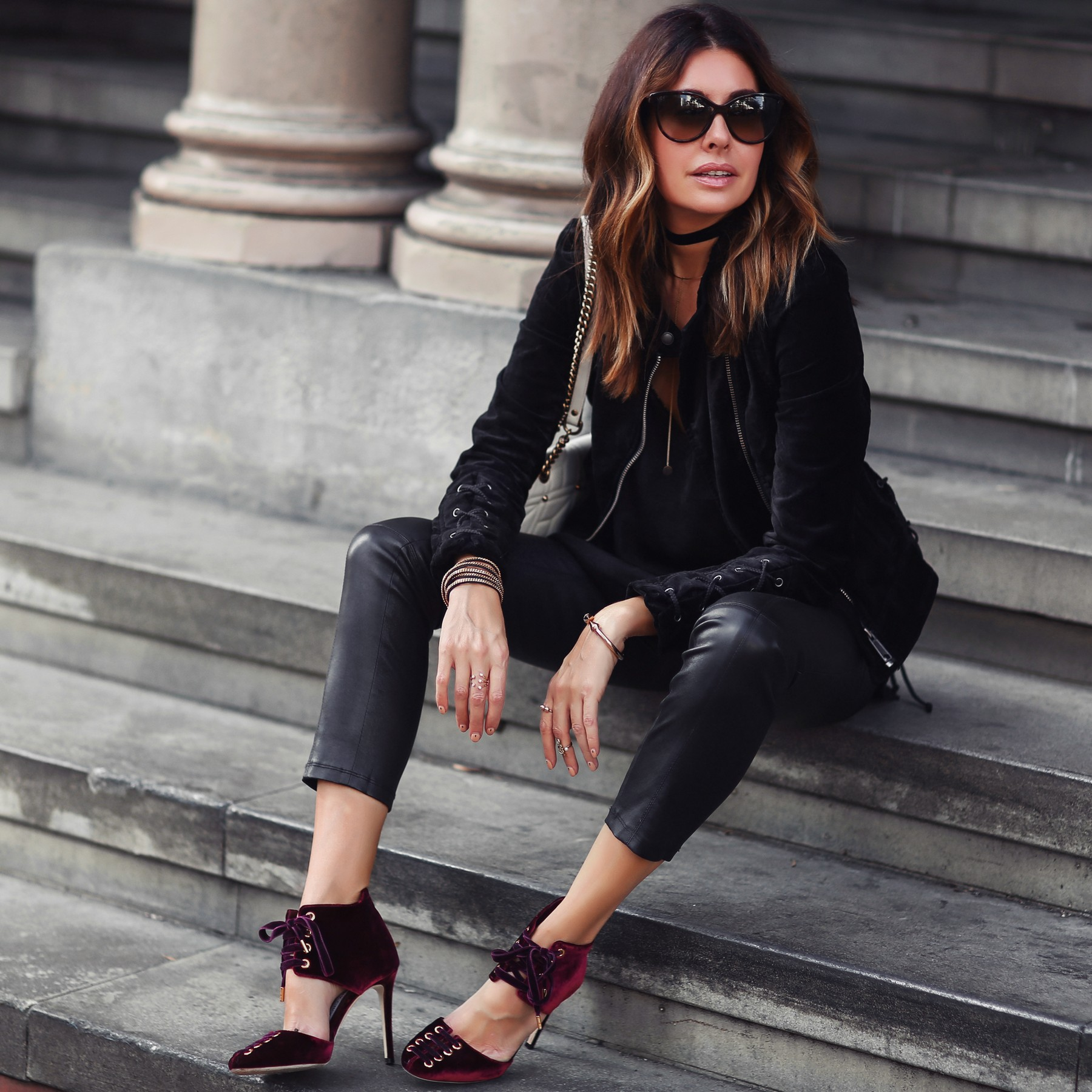 black velvet jacket, leather pants, red velvet heels
