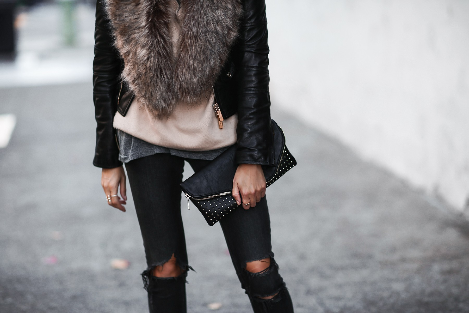 leather jacket and fur stole