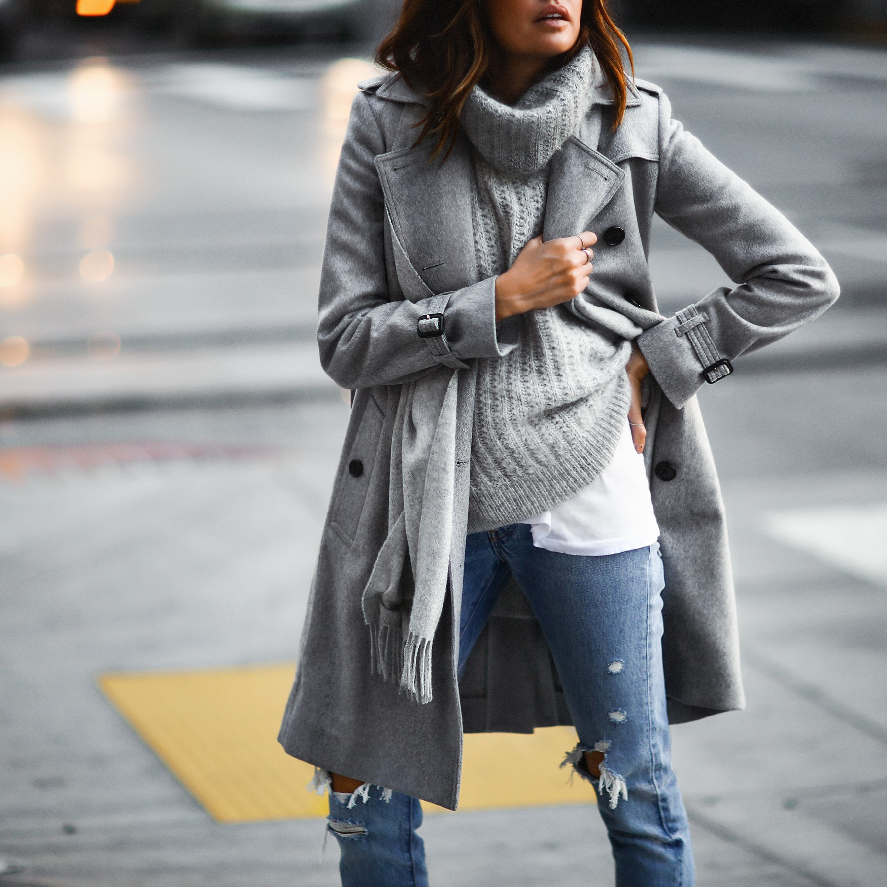 layering greys with trench coat