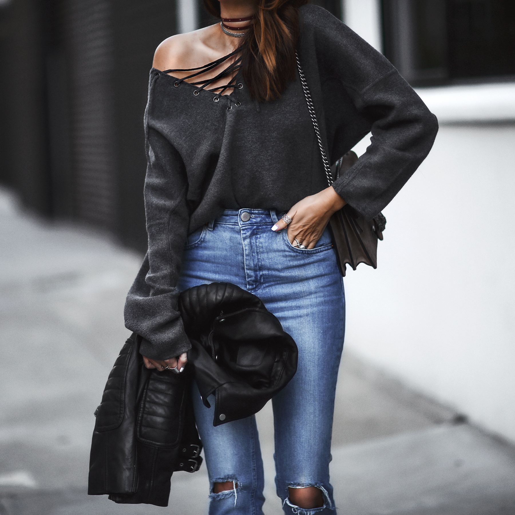 lace up sweater, high waisted jeans, leather jacket