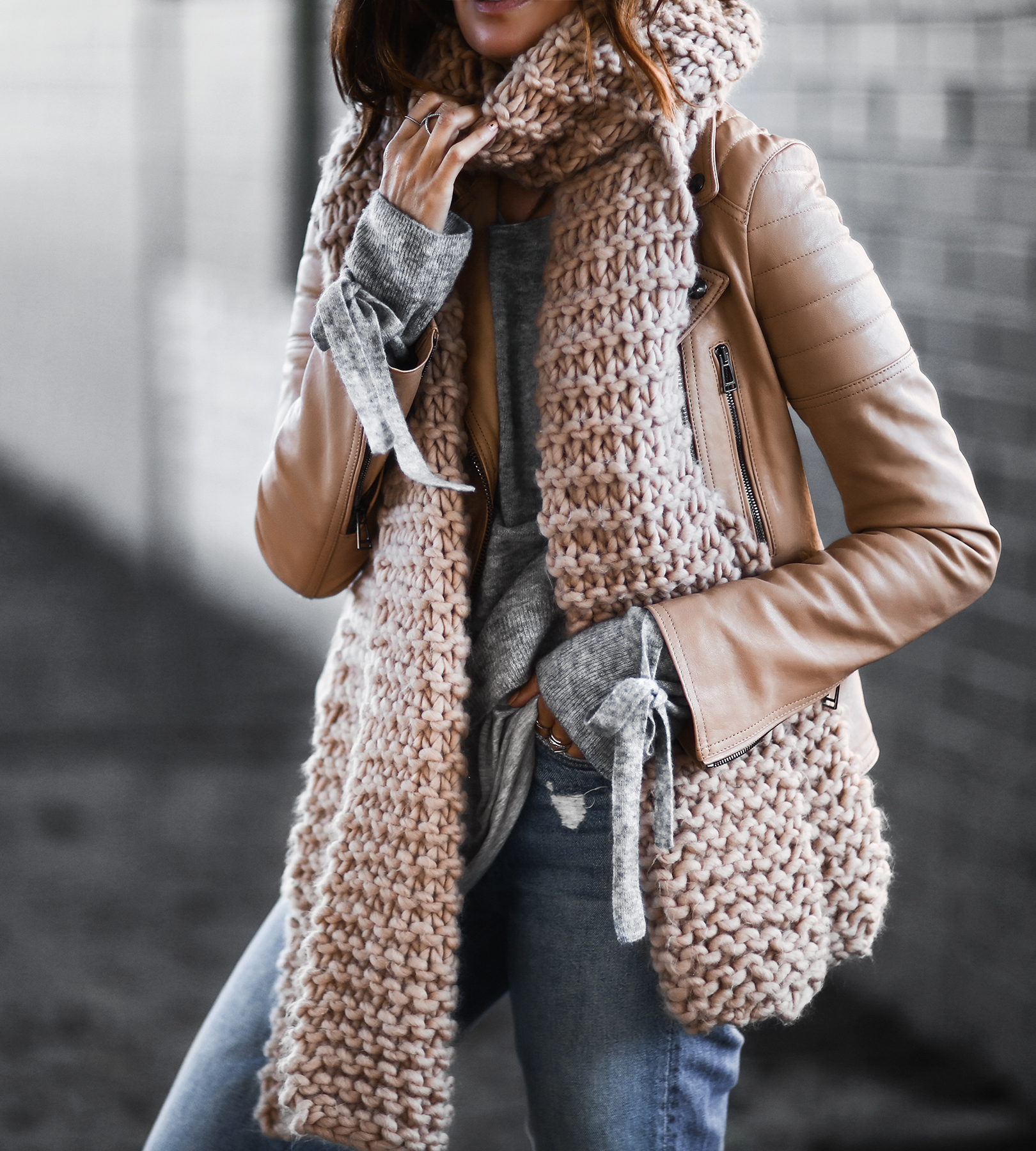 suede jacket and sweater knit scarf