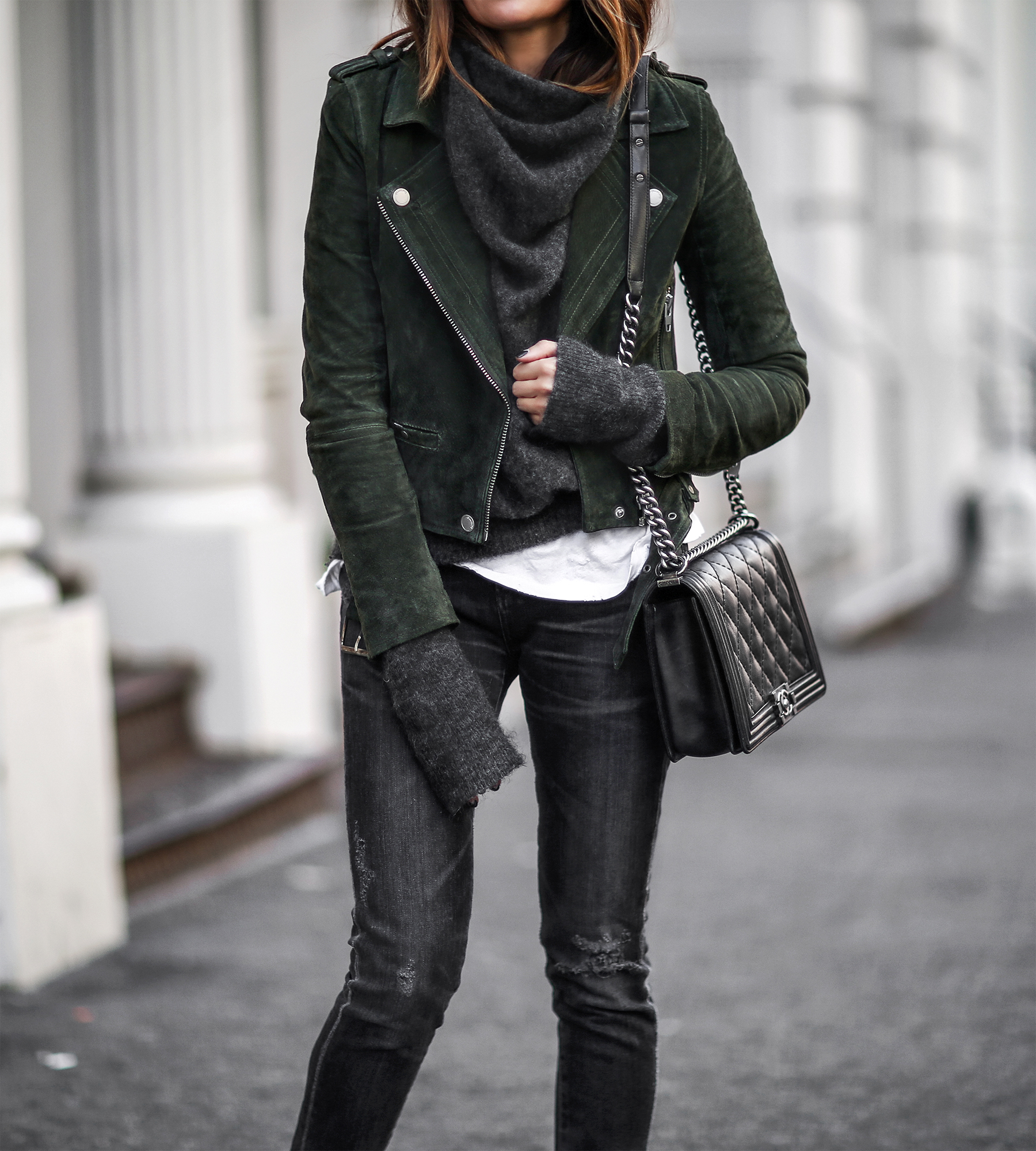 sweater with suede jacket
