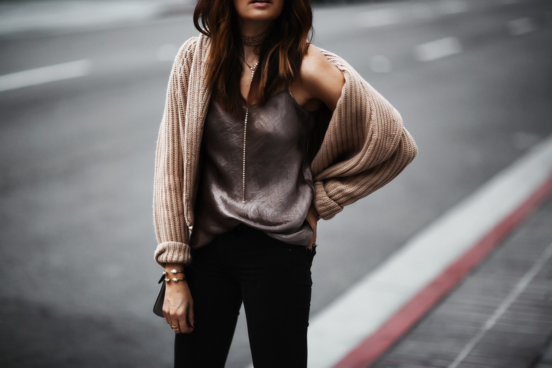 satin camisole and oversized sweater