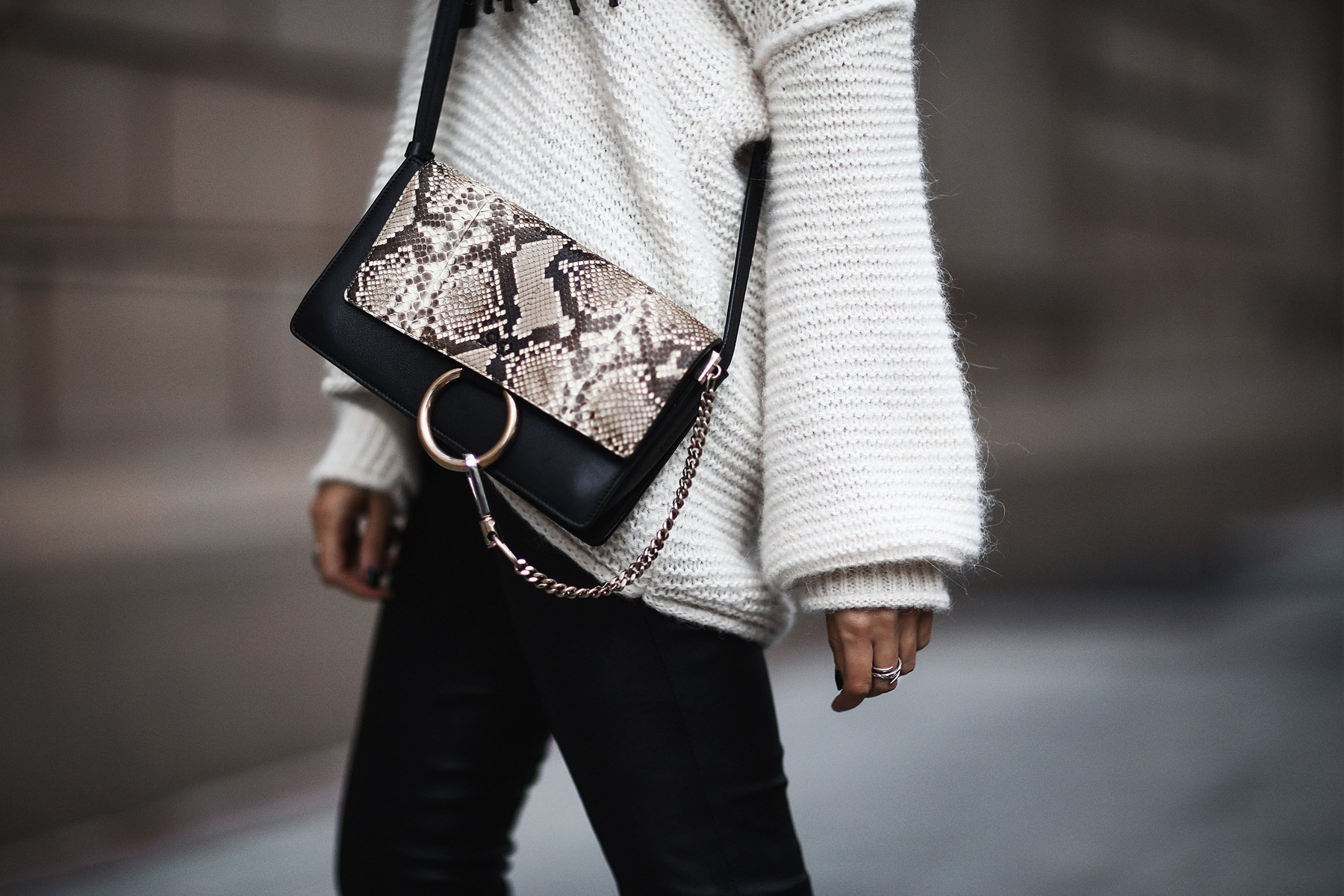 oversized knit sweater and chloe bag
