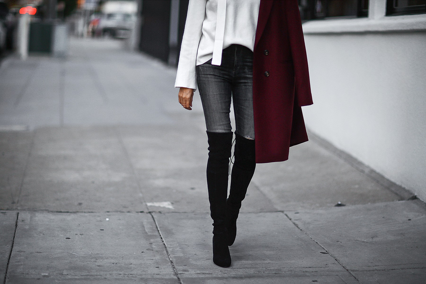 skinny scarf, over the knee boots, trench boat, bell sleeve sweater