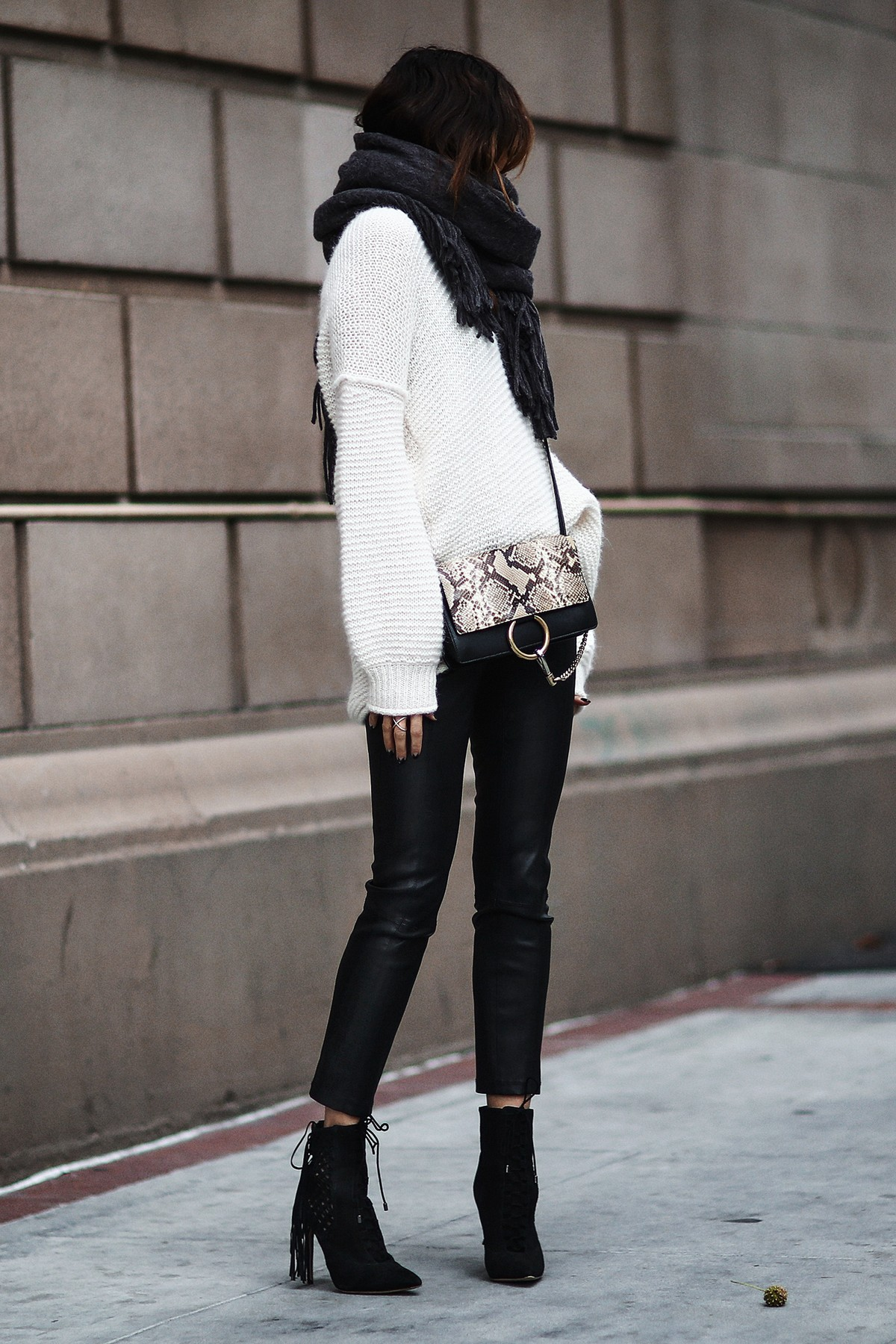 oversized scarf, oversized knit sweater, leather pants, chloe bag, fringe booties