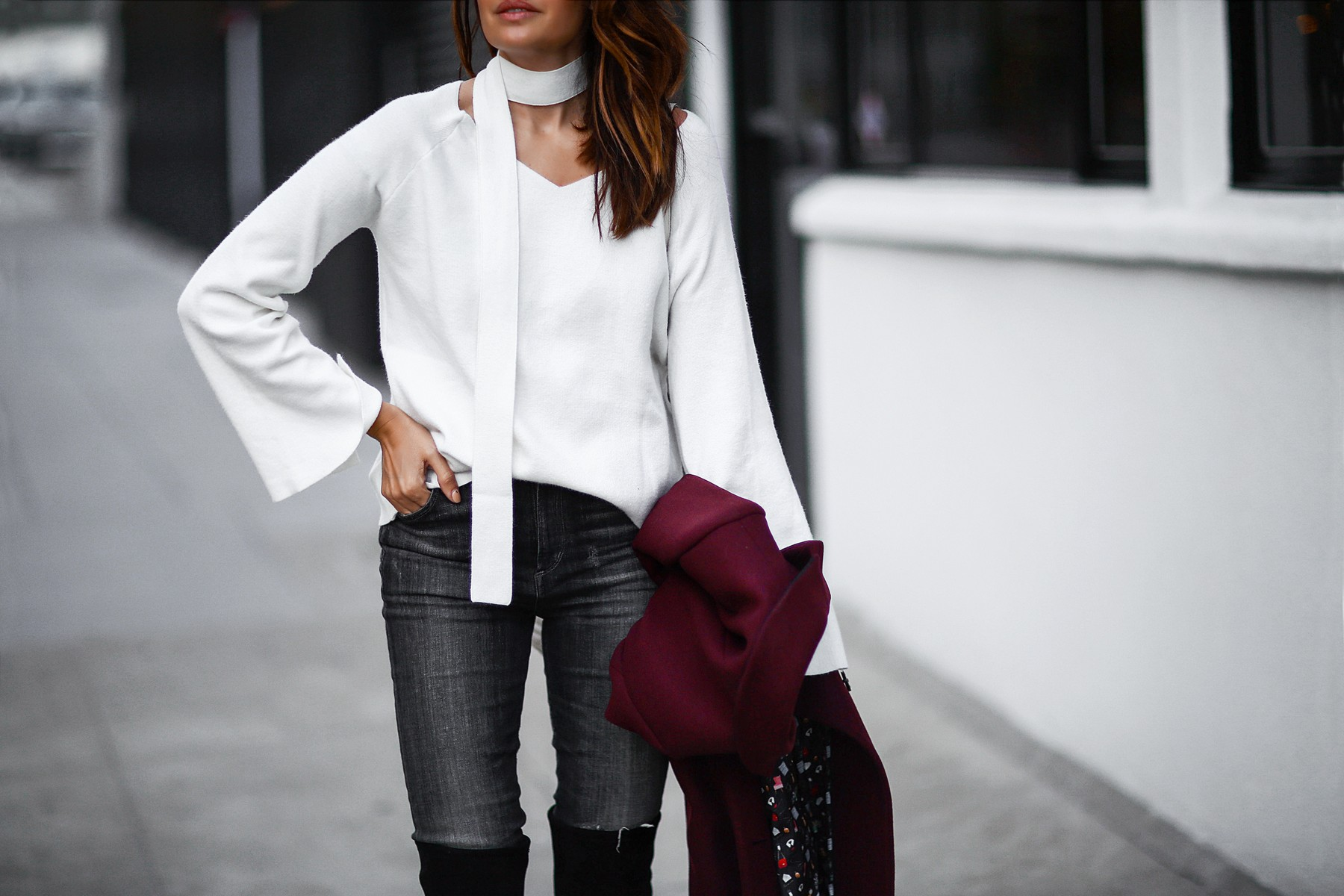 skinny scarf and bell sleeve sweater