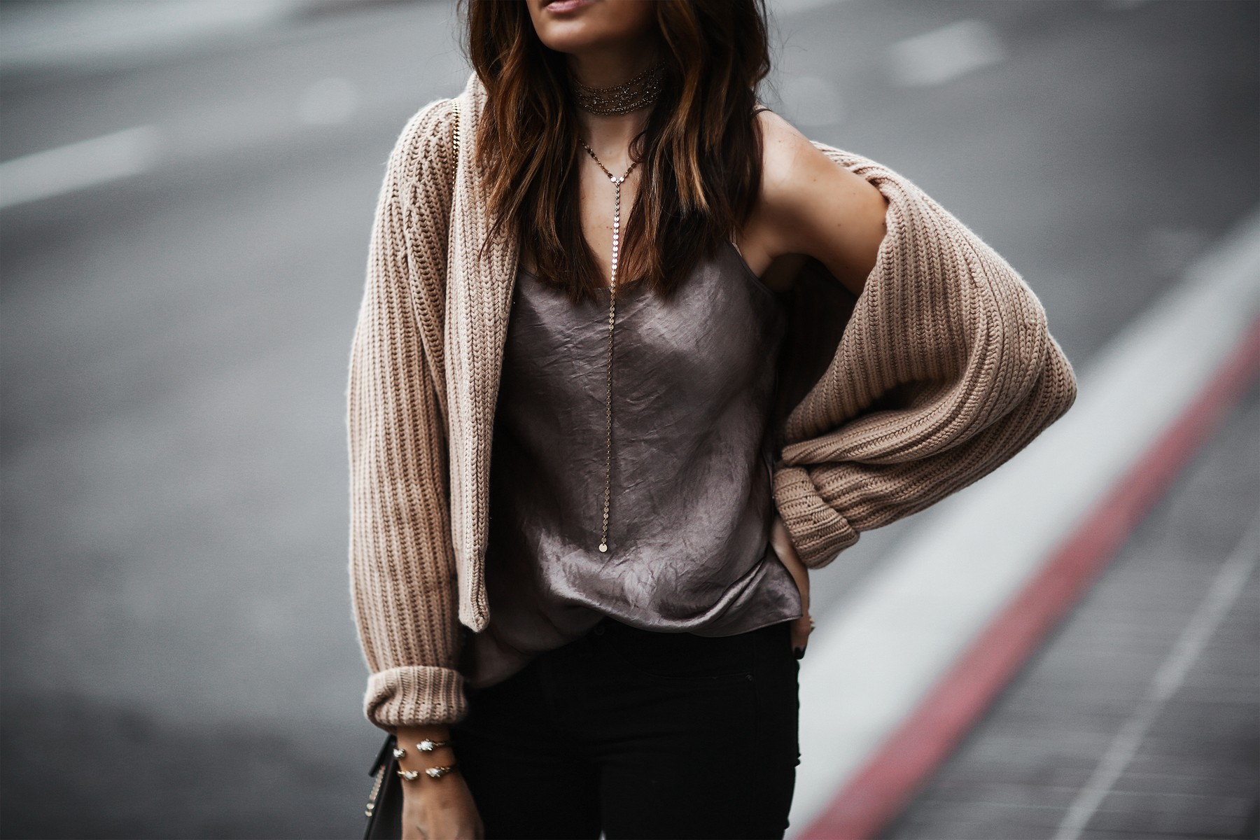 layered necklaces and winter layers