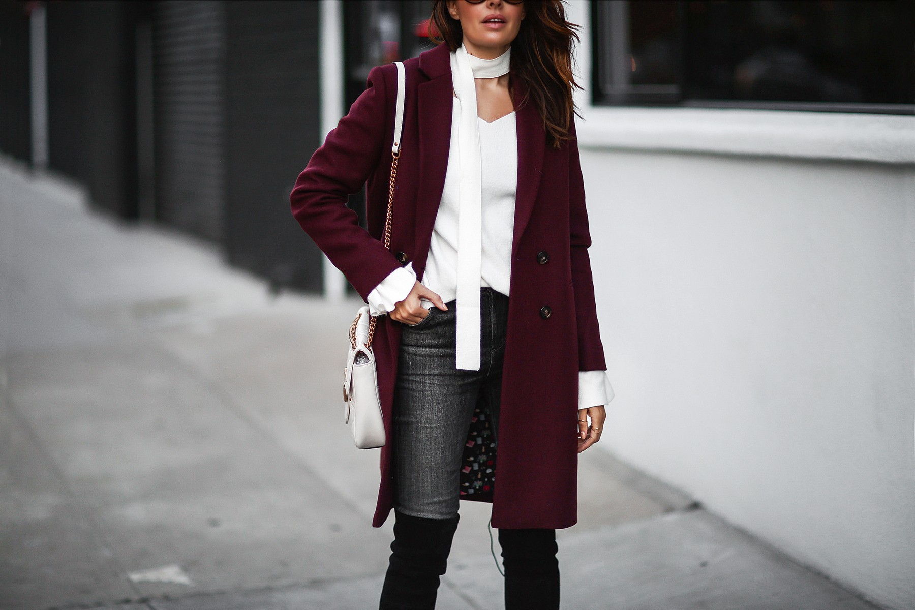 skinny scarf, bell sleeve sweater, trench coat