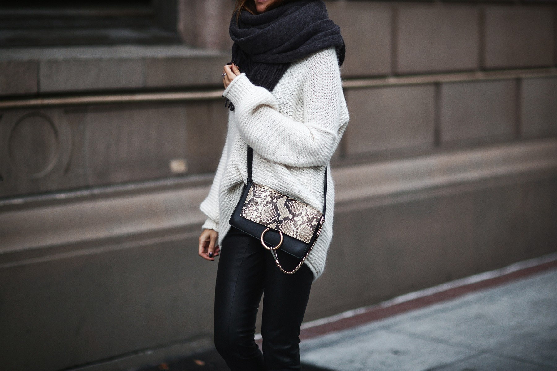 oversized scarf, oversized knit sweater, leather pants, chloe bag