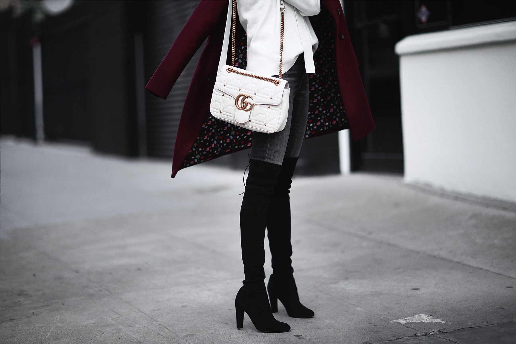 gucci bag and over the knee boots