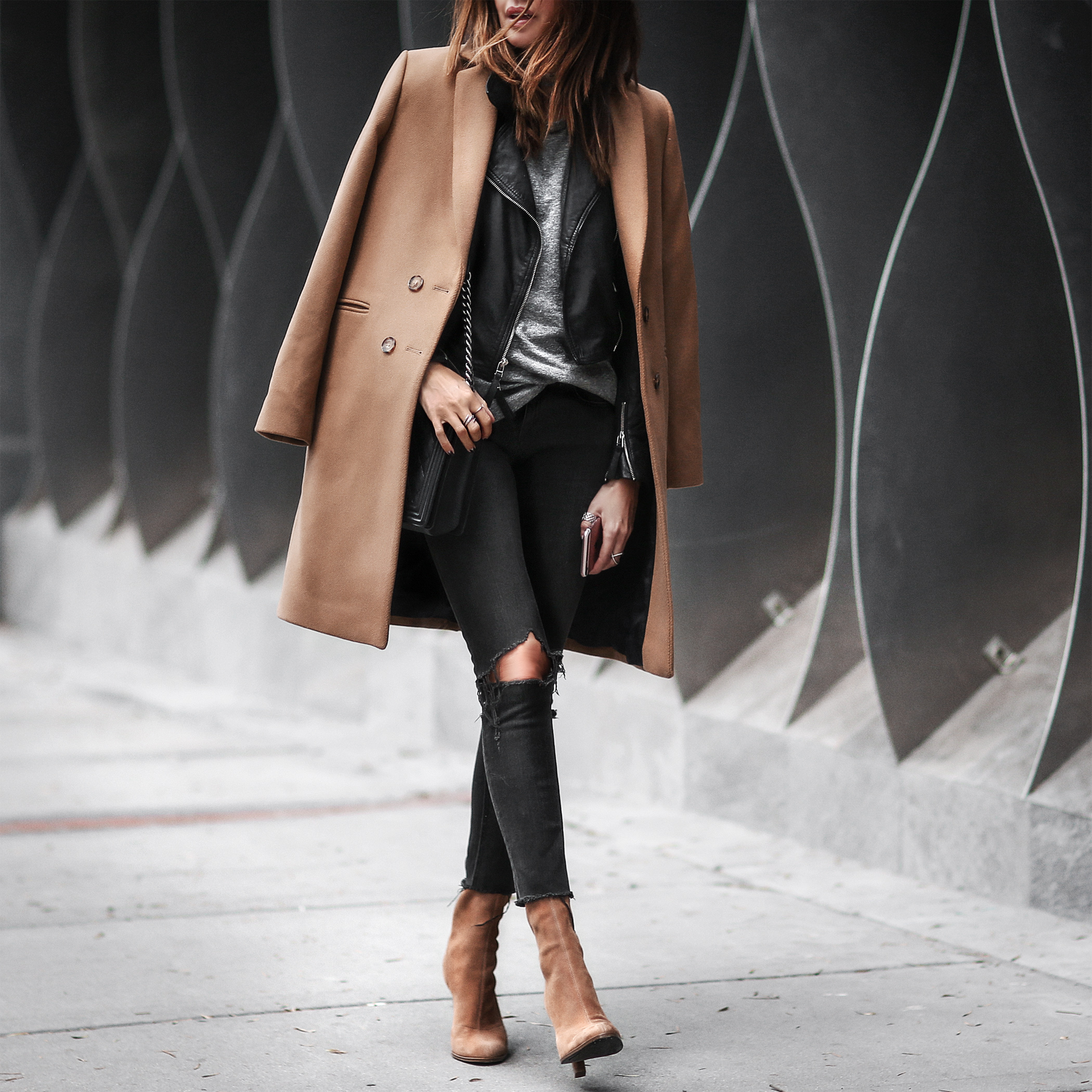 layered look with leather jacket