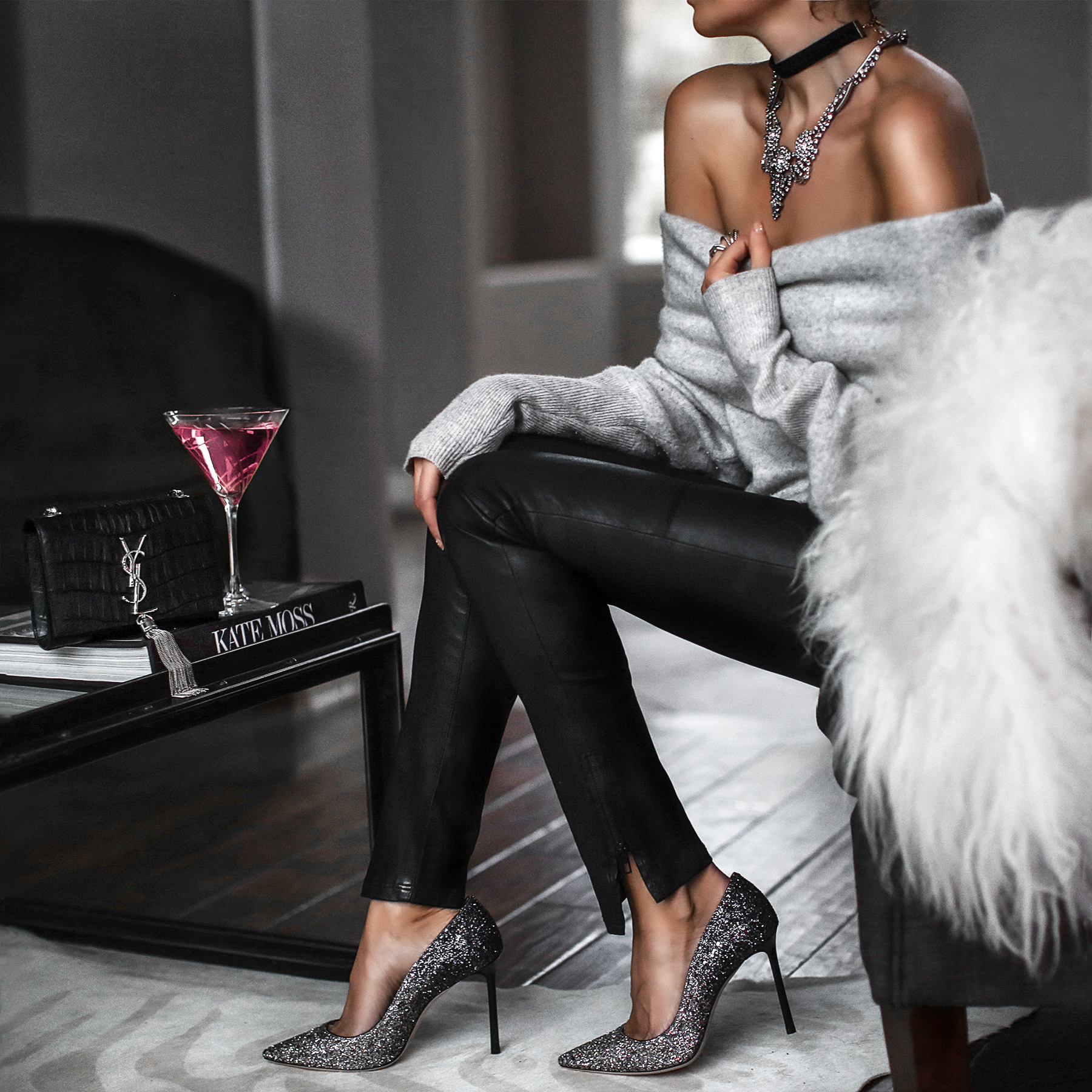 sparkly stilettos, off the shoulder sweater, leather pants, choker
