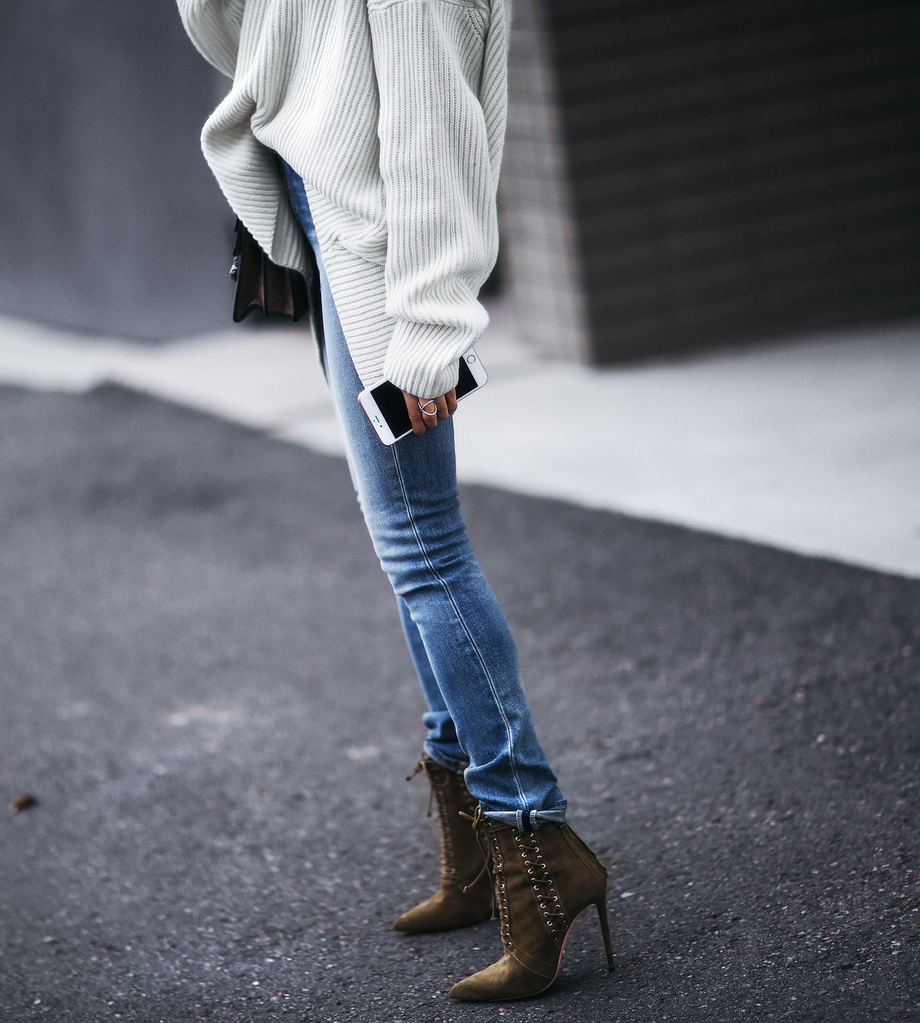 cozy oversized sweater and lace up heels