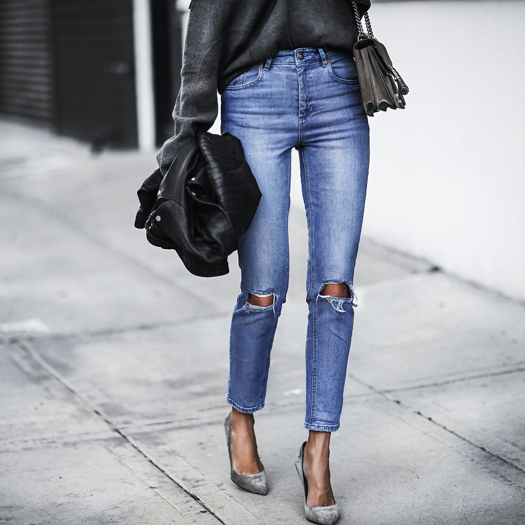 high waisted ripped denim