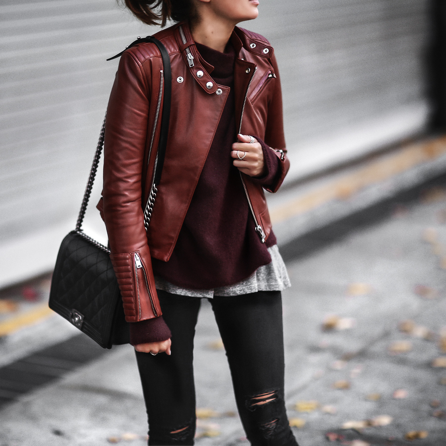 leather jacket with layers
