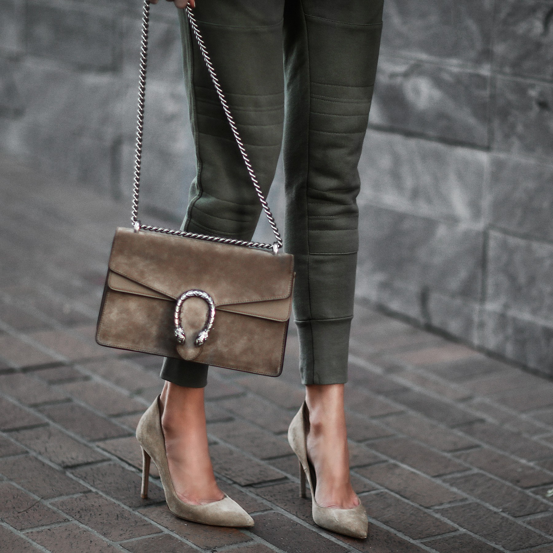 jogger pants and pumps