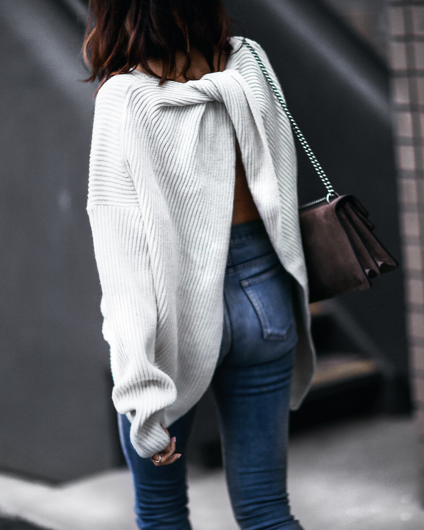 slouchy oversized sweater with twisted back