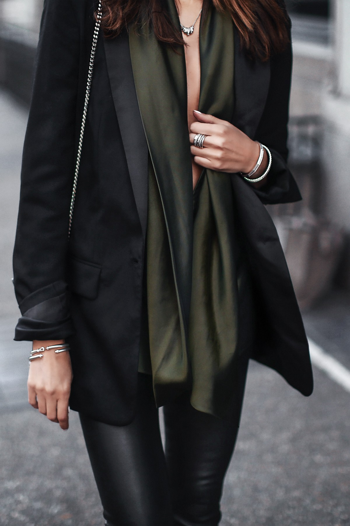army green satin top, blazer, silver jewelry