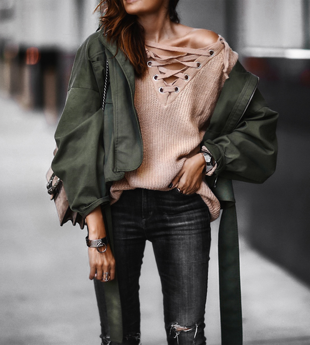 lace up sweater, oversized army green jacket