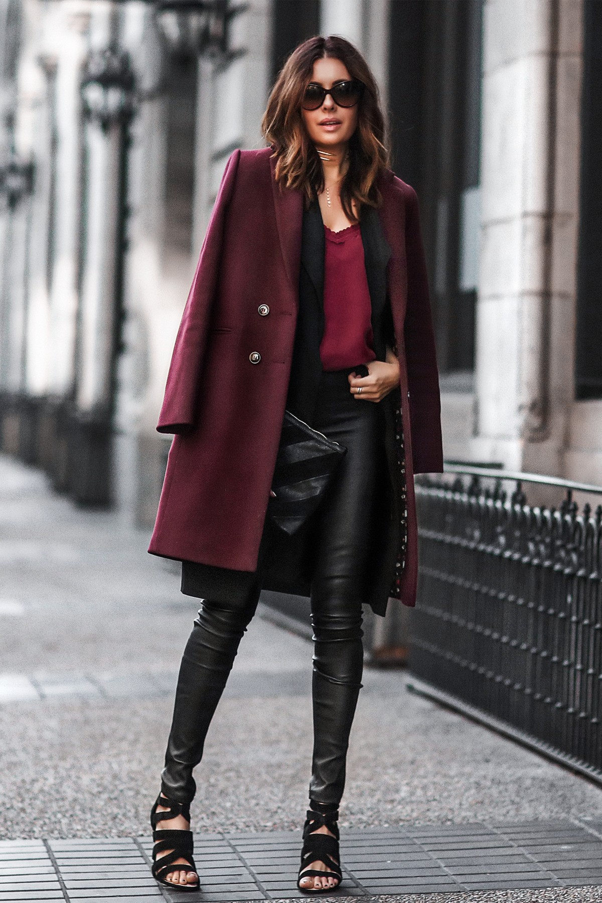 Black leather pants, berry coat, sole society shoes