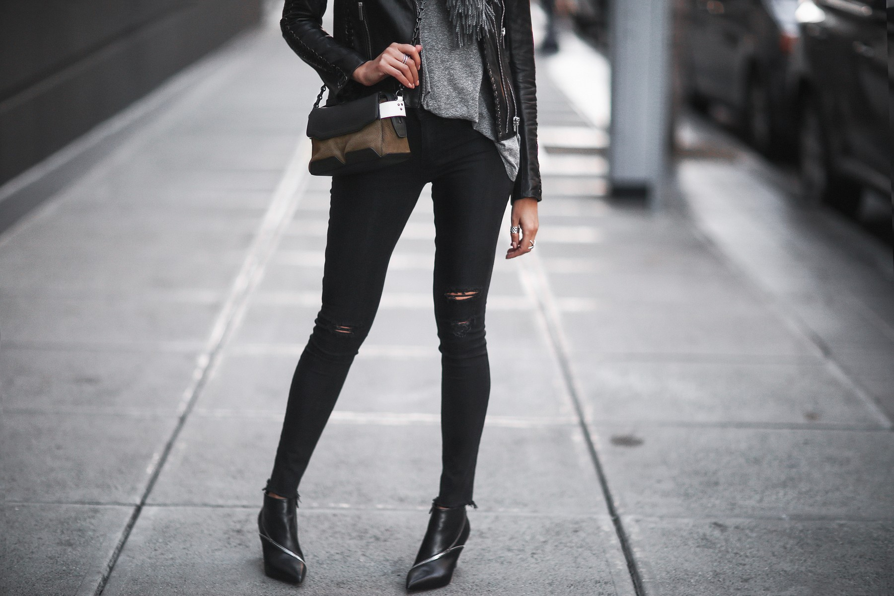 black leather jacket, skinny jeans, rag & bone satchel