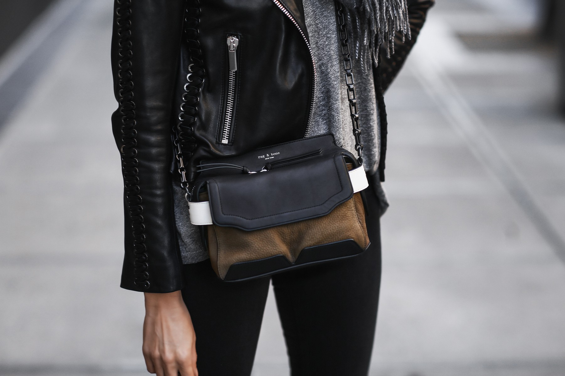 rag & bone satchel, black leather jacket