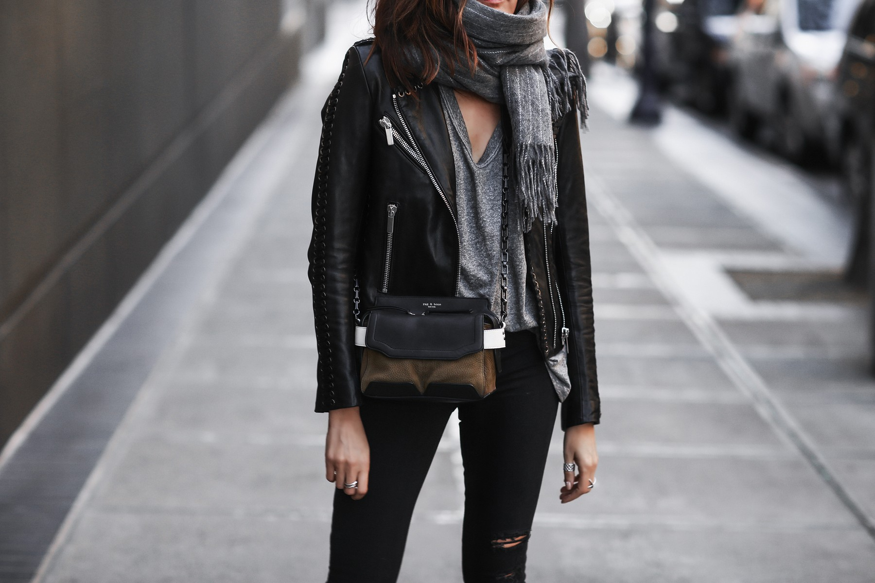 black leather jacket, pinstripe scarf, skinny jeans, rag & bone satchel