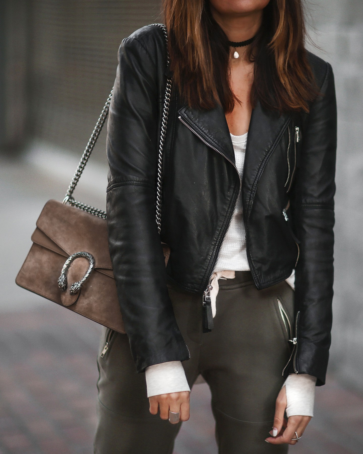 jogger pants and leather jacket